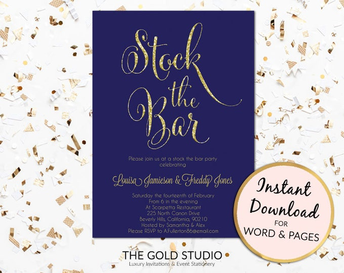 Instant Download Stock the bar invitation, Navy blue & gold glitter couples shower, engagement template printable PC or Mac, Word or Pages