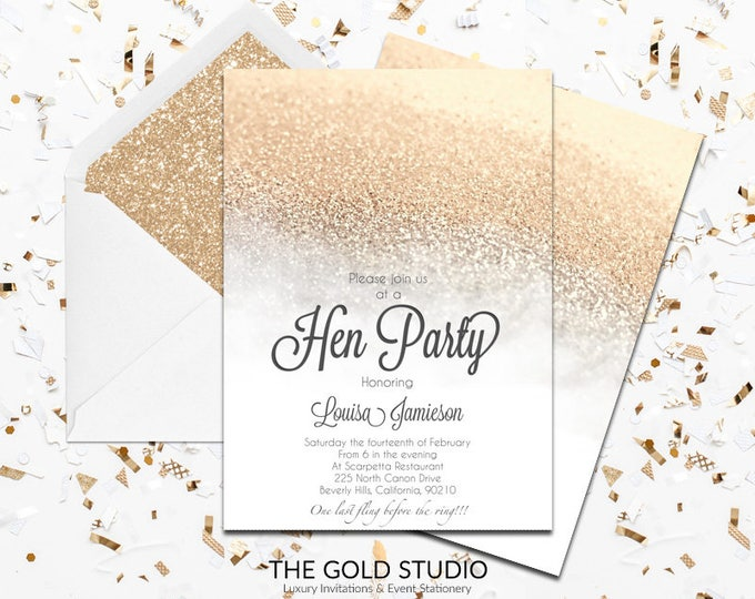 White & Gold Glitter Hen Party Invitation | Modern elegant white hen night invitation | White Feminine Luxury Printed Hen party invitations