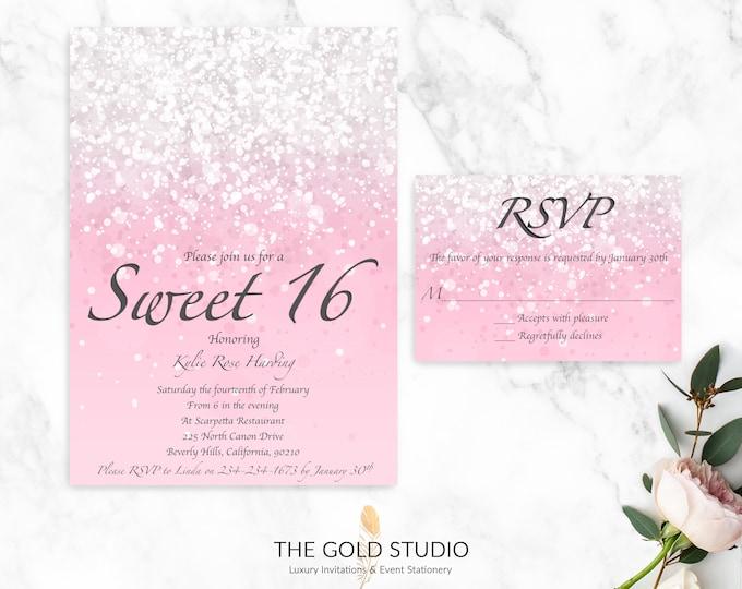 Sweet 16 Invitation & RSVP cards   Luxury Pink Sweet Sixteen Printed Invitations   Pink Glitter Sweet 16 Milestone Birthday Party Invitation