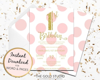1st birthday invitation instant download blush pink girls gold glitter template children's party editable digital file Mac, PC Word & Pages
