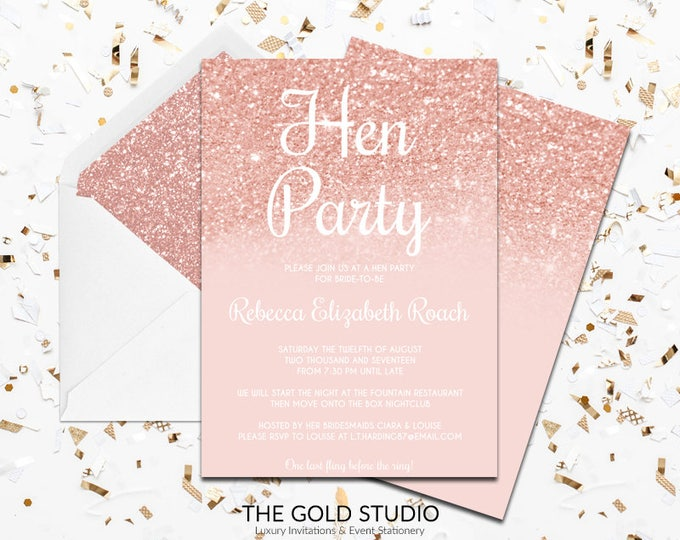 Rose Gold Glitter Hen Party Invitation | Blush Peach Modern Elegant Hen Party Invitation | Blush Peach Girly Printed Hen Party Invitation