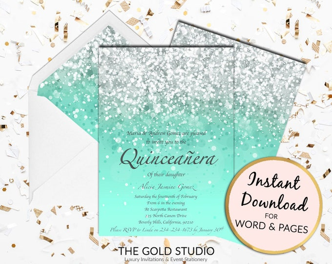 Mint Green Quinceañera invitation turquoise Mis quince anos Glitter Quince invite Birthday Mac or PC Word or Pages Instant Download