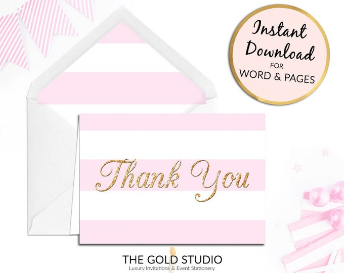 Printable Pink Thank you card, birthday thanks notecard, stripe, bridal shower Print at home for Mac or PC Word or Pages Instant Download