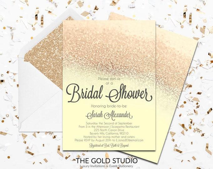 Yellow & Gold Glitter Bridal Shower Invitation   Elegant Modern Shower Invitation   Glamorous Bride to Be Bridal shower Printed Invitations