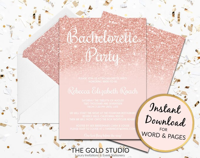 Bachelorette Party invitation | Rose Gold Bachelorette invite | Instant Download | Blush pink glitter | Editable print at home template