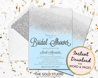 Instant Download Bridal Shower invitation blue and silver glitter editable template elegant print at home invite Editable in Word & Pages