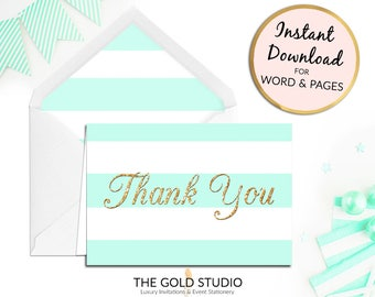 Printable Mint Thank you card, birthday thanks notecard, stripe, bridal shower Print at home for Mac or PC Word or Pages Instant Download