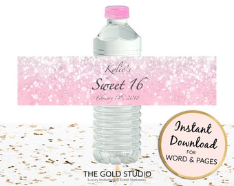 Printable blush pink Water bottle labels Sweet 16 custom cover Sweet sixteen drink sticker for Mac or PC, Word or Pages Instant Download