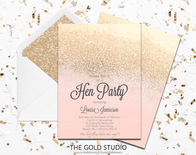Peach & Gold Glitter Hen Party Invitation | Printed Luxury Blush peach elegant hen night invitations | Glam Printed Hen party invitations