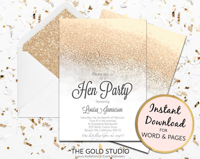 Printable white and gold glitter Hen Party invitation hen party invite hens night invitation Mac or PC Word or Pages Instant Download