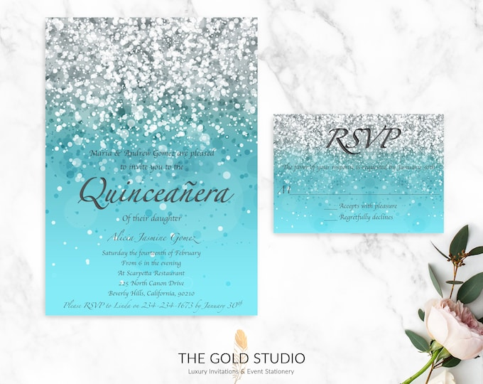 Blue Glitter Quinceanera & RSVP Cards   Printed Quinceanera Invitation + RSVP Card   Mis Quince Glamorous Turquoise 15th Birthday Party