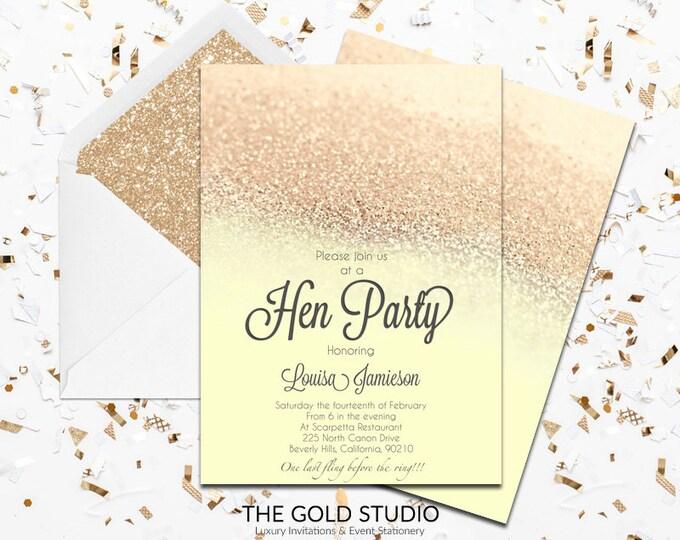 Yellow & Gold Glitter Hen Party Invitation | Modern elegant gold hen night invitations | Glam Luxury Printed Hen party invitations