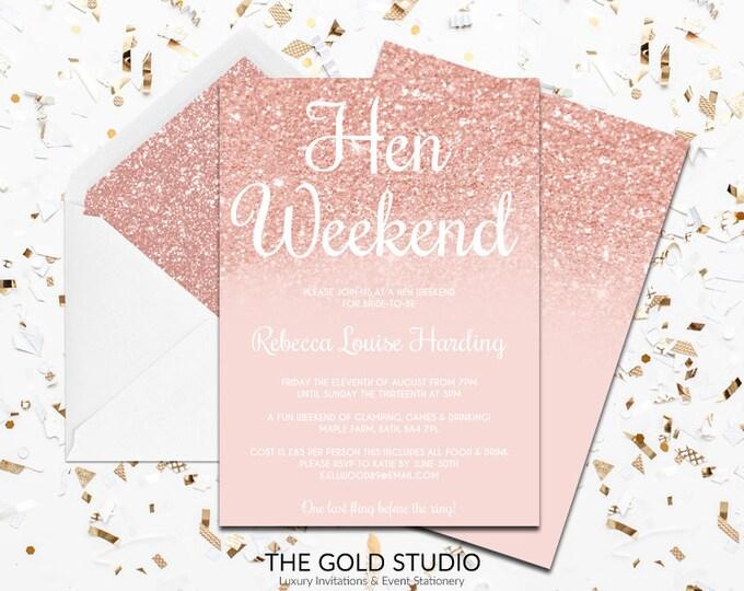 Rose Gold Hen Weekend Invitation | Modern Elegant Hen Party Invitation | Blush Peach Glitter Hen weekend Invite | Luxury printed hen invites
