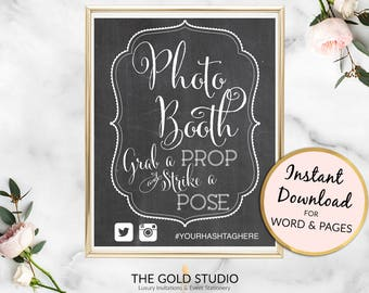 Photo booth Instant Download editable hashtag template sign poster grab a prop strike a pose wedding signage printable Mac &PC Word or Pages
