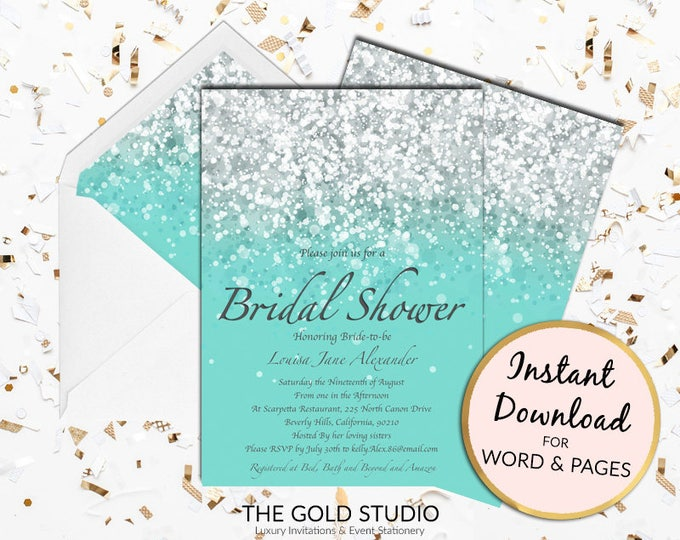 Bridal Shower invitation   Teal turquoise glamorous glitter bridal shower invite   Printable bridal invitation   Editable Instant Download