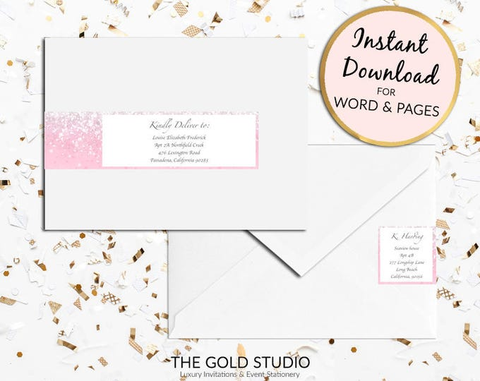 Printable Pink sparkle Return address labels Envelope wrap address sticker wrap around label for Mac or PC, Word or Pages Instant Download