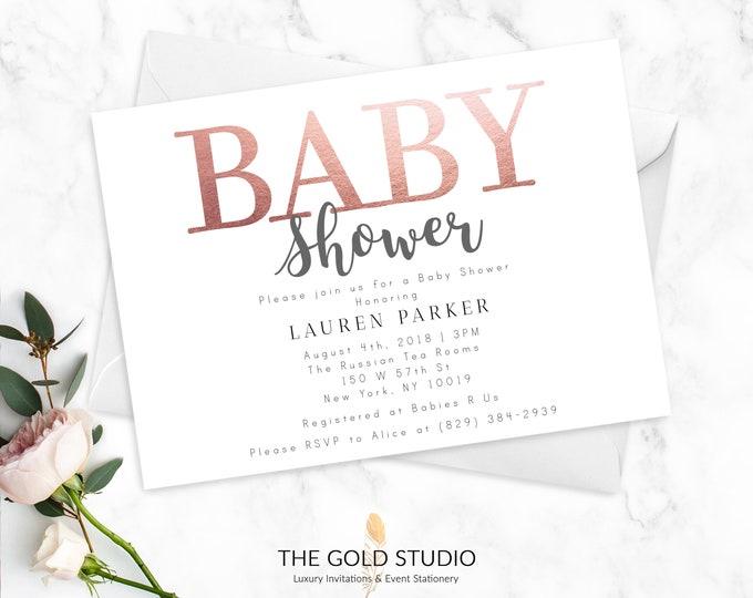Rose Gold Baby Shower Invitations   Elegant Printed Baby Shower Invitations   Modern Gender Neutral White Bronze Rose Gold Foil Invitations