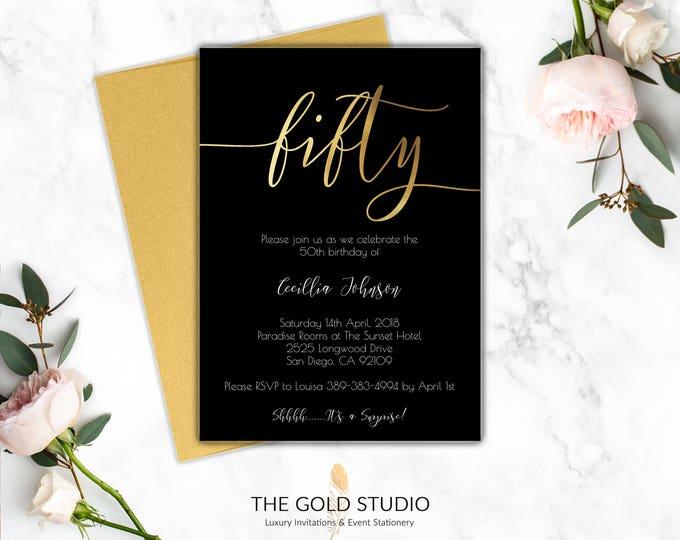 50th Birthday Invitation | Printed Invites Milestone Birthday | Black & Gold Elegant Birthday Invitations | Modern Fifty 50 Birthday Party