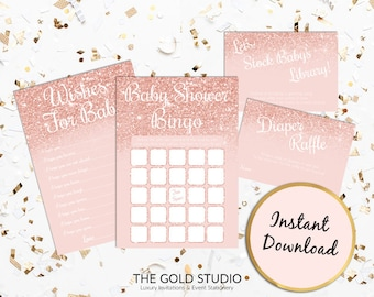 Rose Gold Baby Shower Games Pack Instant Download | Baby Bingo Wishes for Baby Stock the Library Diaper Raffle | Printable Baby Shower Games