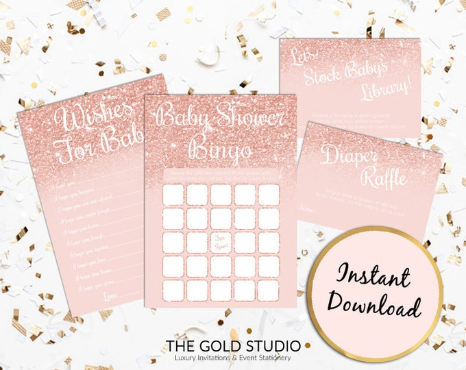 Rose Gold Baby Shower Games Pack Instant Download   Baby Bingo Wishes for Baby Stock the Library Diaper Raffle   Printable Baby Shower Games