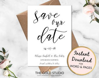 Save the Date Instant Download | Editable Template Wedding Invitation | Printable Save Our Date | Modern Black White Calligraphy Invitation