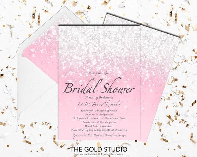 Blush Pink Bridal Shower Invitation   Modern Elegant Pink Glitter Bridal Shower   Luxury Girly Glamorous Printed Bridal shower Invitations