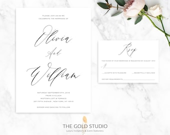 Wedding Invitation Suite | Elegant Black and White Calligraphy invitation & RSVP Set |  Modern Typography Luxury Printed Wedding Invitations