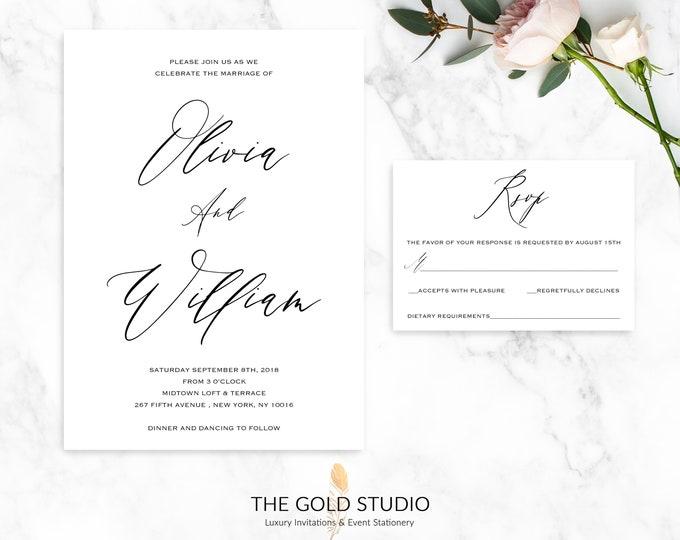 Wedding Invitation Suite   Elegant Black and White Calligraphy invitation & RSVP Set    Modern Typography Luxury Printed Wedding Invitations