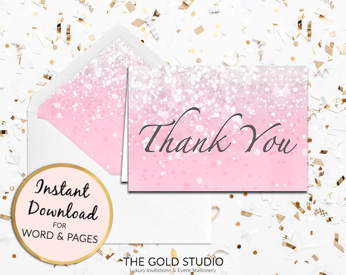 Instant Download Thank you card | Blush Pink Thank you note card printable | Birthday shower Sweet 16 thank you card | Print at home