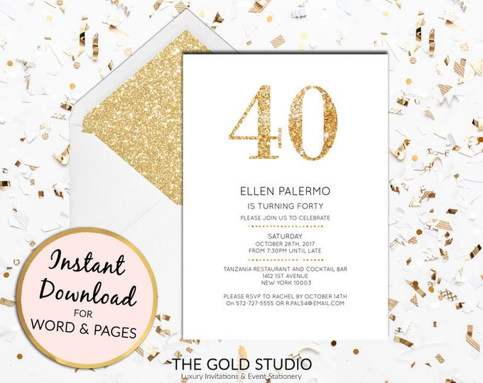 Instant download 40th birthday invitation forty modern elegant gold glitter birthday invite editable template Mac or PC, Word or Pages