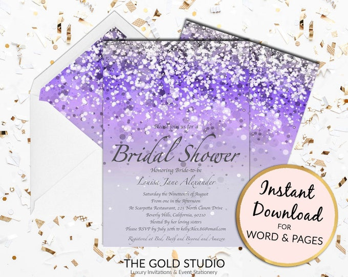 Printable Purple Bridal Shower invitation Glamorous Print at home lilac Glitter invite bride to be Mac or PC Word or Pages Instant Download