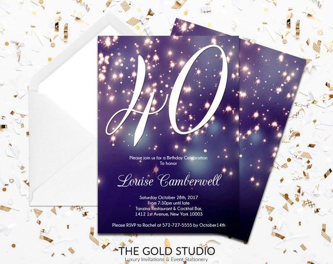 40th Birthday Invitation | Blue Purple Sparkle Glamorous modern 40 birthday invite | 40th Birthday Milestone birthday Printed Invitations