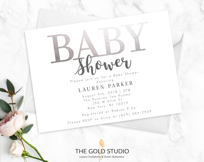 Baby Shower Invitations   Modern Silver & White Printed Invitations   Elegant Feminine Baby Shower Invites   Gender Neutral Printed Cards
