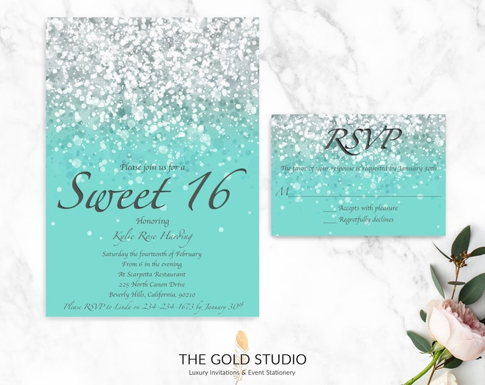 Sweet 16 Invitations & RSVP Cards   Luxury Printed Sweet Sixteen Invitations   Glitter Turquoise Green Blue 16th Birthday Party Invitations