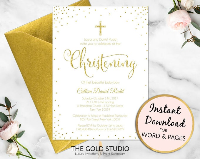 Christening invitation | White and Gold glitter christening party invite | boy or girl religious invitation | Editable printable template