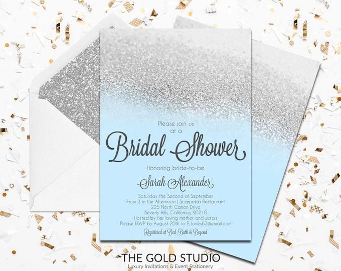 Blue & Silver Glitter Bridal Shower Invitation   Glamorous Modern Blue Bridal shower invite   Elegant Printed Bridal Shower Invitations