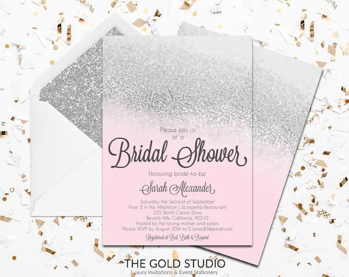 Pink & Silver Glitter Bridal Shower Invitation   Blush Pink Modern Shower Invitation   Glam Bride to Be Bridal Shower Printed Invitations