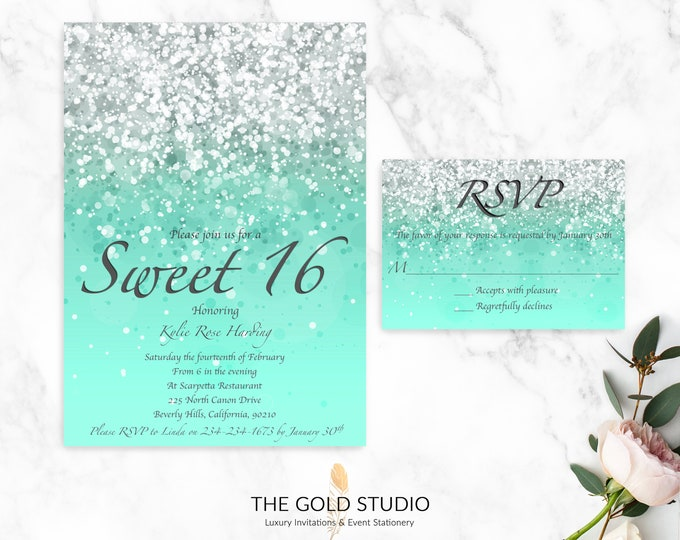 Sweet 16 Mint Green Invitations & RSVP Cards | Glamorous Printed Sweet 16 Invitations | Mint Green Glitter 16th Birthday Party Invitations