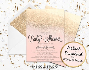 Baby Shower invitation Instant download editable template peach and gold glitter elegant modern print at home Edit in Word & Pages PC/ Mac