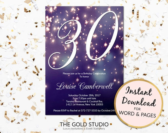 30th birthday invitation instant download blue purple sparkle firework bokeh glamorous modern birthday party invite Mac or PC, Word or Pages