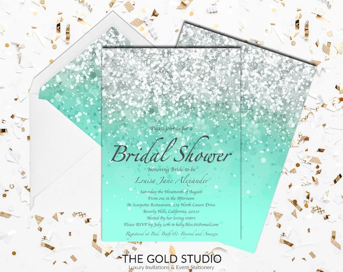 Mint Bridal Shower Invitation   Modern Elegant Turquoise Glitter Bridal Shower Invitation   Glamorous Luxury Printed Bridal shower invites