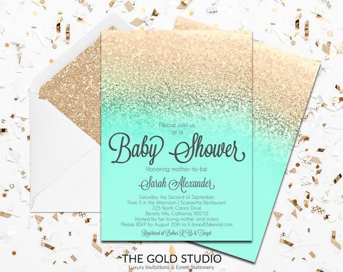 Mint & Gold Glitter Baby shower Invitation   Modern Glamorous Turquoise Shower Invitation   Elegant Gender Neutral Feminine Shower invite