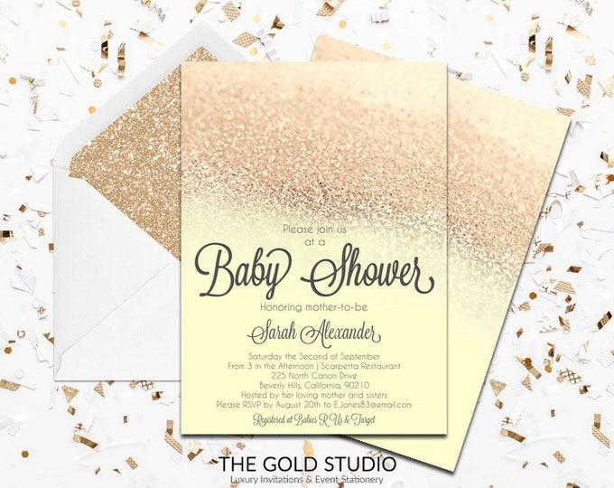 Yellow & Gold Glitter Baby shower Invitation   Modern Glamorous Shower Invitation   Elegant Gender Neutral Feminine Baby Shower invite