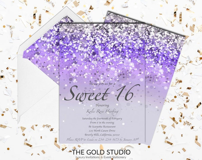 Sweet 16 invitation Purple Glitter Sweet sixteen invite | Lilac 16th Birthday Party | Glamorous modern sweet 16 Luxury Printed Invitations
