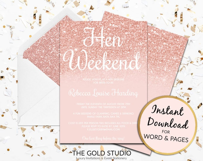 Rose Gold hen party invitation hen weekend Instant Download modern editable template pink peach glitter invite Mac or PC Word or Pages