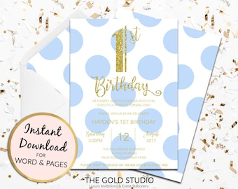 1st birthday invitation instant download boys blue gold glitter template children's party editable digital file Mac or PC Word or Pages