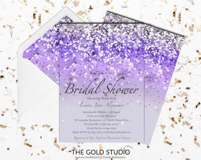 Purple Bridal Shower Invitation   Lilac Glitter Bridal shower Invite   Glamorous Modern Shower invitations   Elegant Printed Invitations