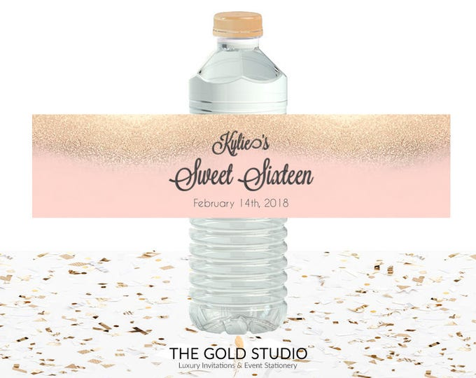Peach & Gold Glitter Sweet 16 Water Bottle labels | Sweet sixteen blush peach drink cover | 16th Birthday printed water bottle Drink labels