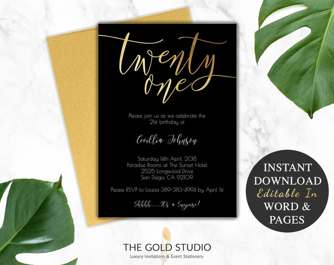 21st Birthday Invitation Instant Download | Modern Black & Gold 21st Party Invite | Editable Print At Home DIY Invitation Template Printable