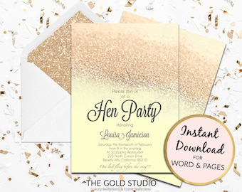 Printable yellow and gold glitter Hen Party invitation hen party invite hens night invitation Mac or PC Word or Pages Instant Download